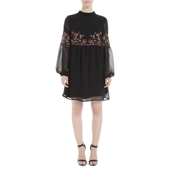Romeo + Juliet Couture Longsleeve High-neck Embroidered Dress