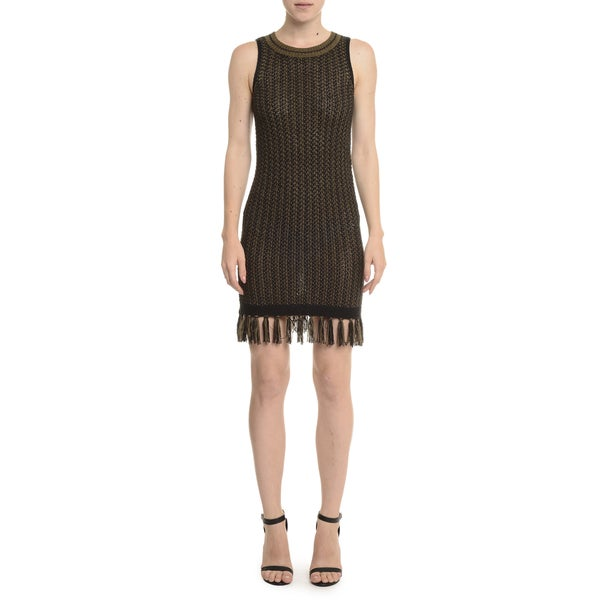 Romeo and Juliet Couture Black Sleeveless Fringe Sweater Dress