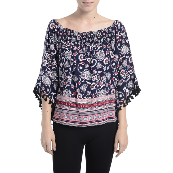 Romeo + Juliet Couture Blue Rayon Off-shoulder 3/4-length Tassle Sleeve Multi Print Top
