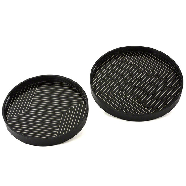 Isadora Black Round Small Tray