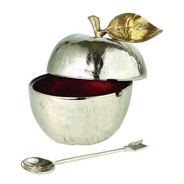 Elegance Honey Pot with Spoon: Gilt Accents
