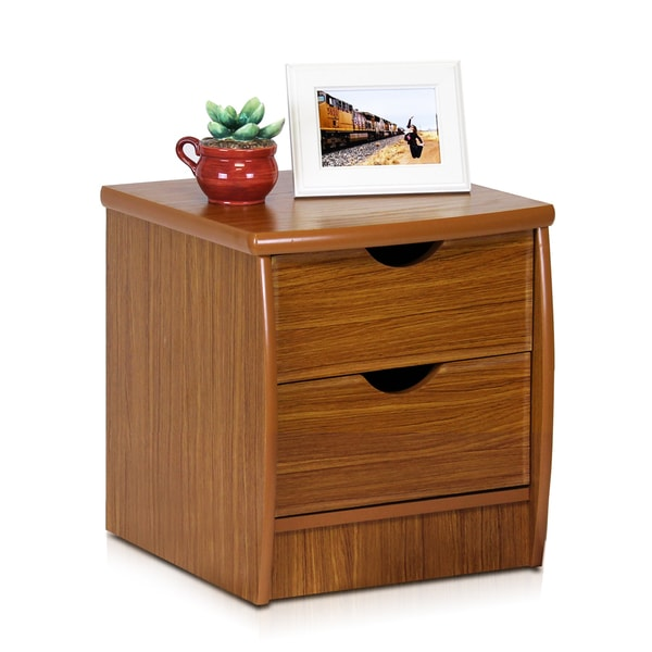 Furinno Simple Design Cherry Veneer 2-drawer Bedside Chest