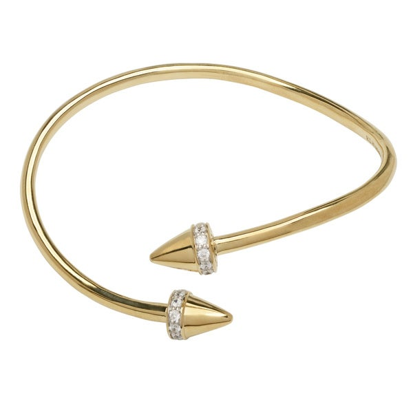 Goldtone CZ Spike Bangle Bracelet