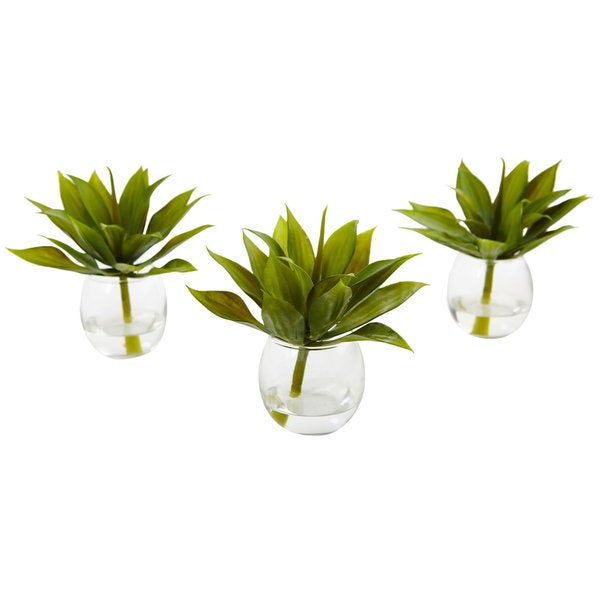 Nearly Natural Artifcial Agave Plant with Clear Glass Vase (Set of 3) 21903375