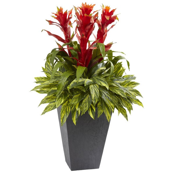 Nearly Natural Tropical Bromeliad with Slate Planter