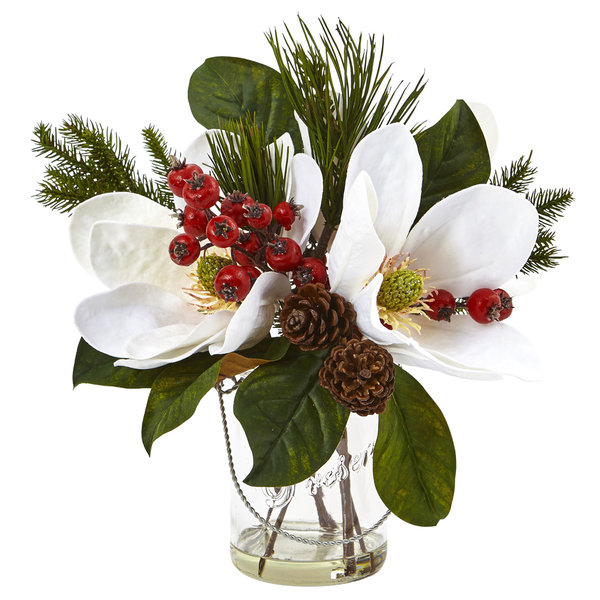 Nearly Natural Magnolia, Pine, and Berry Arrangement in Glass Vase