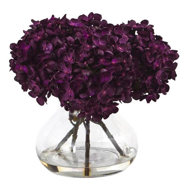 Nearly Natural Hydrangea with Vase Silk Flower Arrangement 21903634