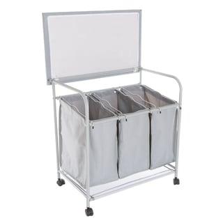 Lavish Home Rolling 3 Bin Laundry Sorter and Ironing Station - Gray - 29.5 x 18 x 29.5