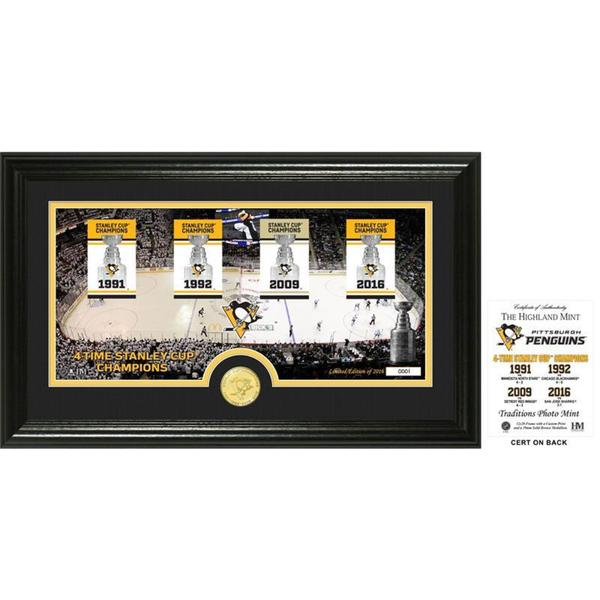 "Pittsburgh Penguins 4-Time Stanley Cup Champions ""Banner"" Panoramic Bronze Coin Photo Mint 21903991"