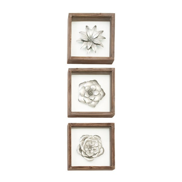 Urban Designs Metal Flowers Framed Wall Art (Pack of 3) 21904048