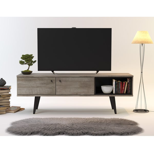 Midtown Concept Barcelona Grey MDF Mid-century 2-Cabinet TV Stand