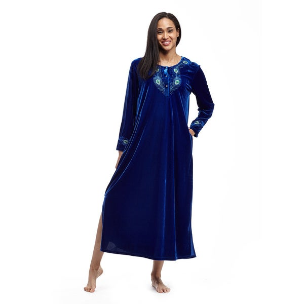La Cera Women's Blue/ Gold Embroidered Velvet Dress