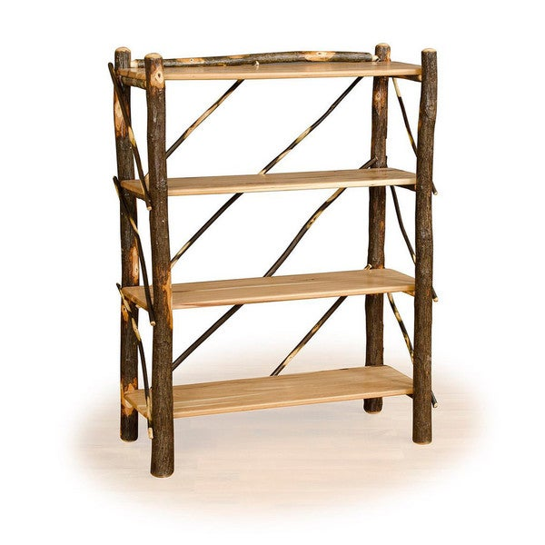 Rustic Hickory OR Hickory & Oak Four Shelf Book Case