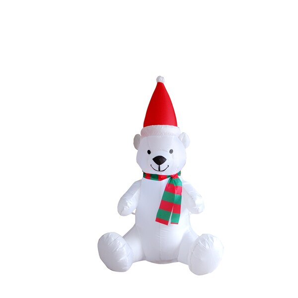 Polyester 4-inch Inflatable Polar Bear