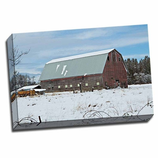 Picture It on Canvas 'Red Barn in Winter' Wrapped Canvas Wall Art