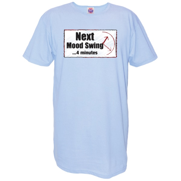 Women's 'Next Mood Swing...4 Minutes' Light Blue Cotton Nightshirt