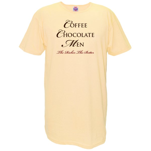 Women's 'Coffee Chocolate Men The Richer The Better' Yellow Cotton Nightshirt