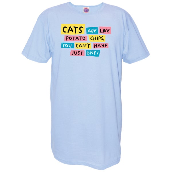 Women's 'Cats Are Like Potato Chips You Can't Have Just One!' Multicolored Cotton Nightshirt