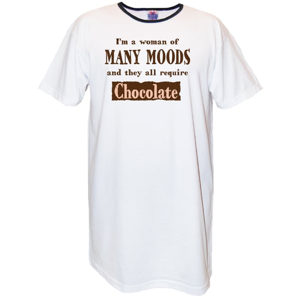 'I'm a Woman of Man Moods and They All Require Chocolate' White Cotton Nightshirt