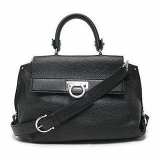 Salvatore Ferragamo Black Calfskin Leather Medium Sofia Tote