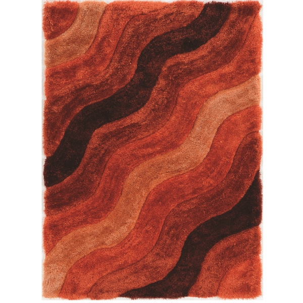 "Hand Tufted Links Wave Orange Polyester Rug (1'10"" x 2'10"")"