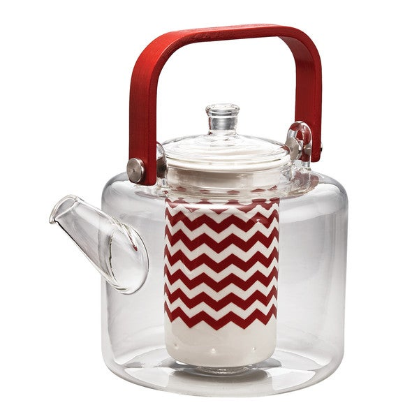 "BonJour Teapots ""Reverie"" Handblown Glass Teapot with Bamboo Handle, 42-Ounce, Rosehip Red 21912153"
