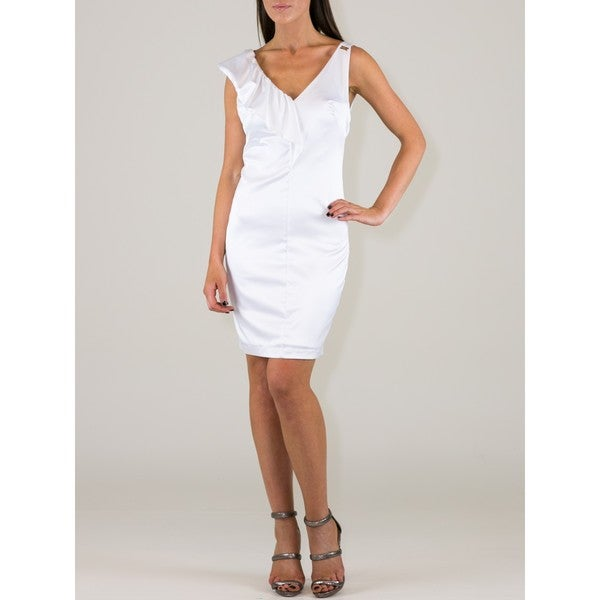 Women's White Polyester-blend Ruffle Shoulder Sheath Dress