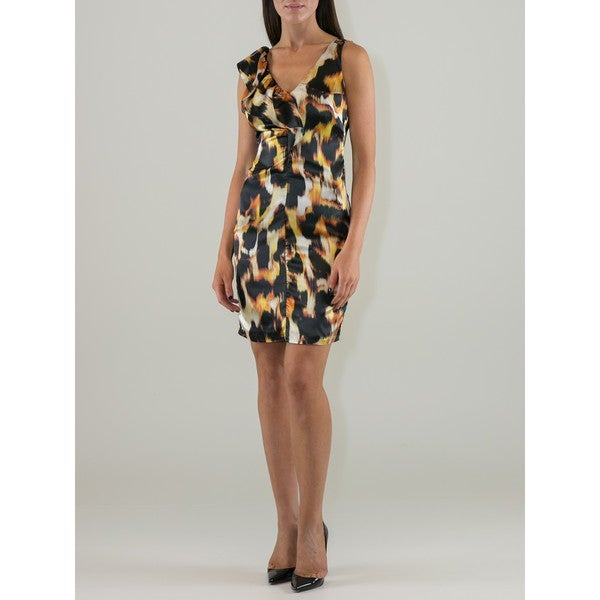 Women's Animal Print Ruffle Shoulder Dress