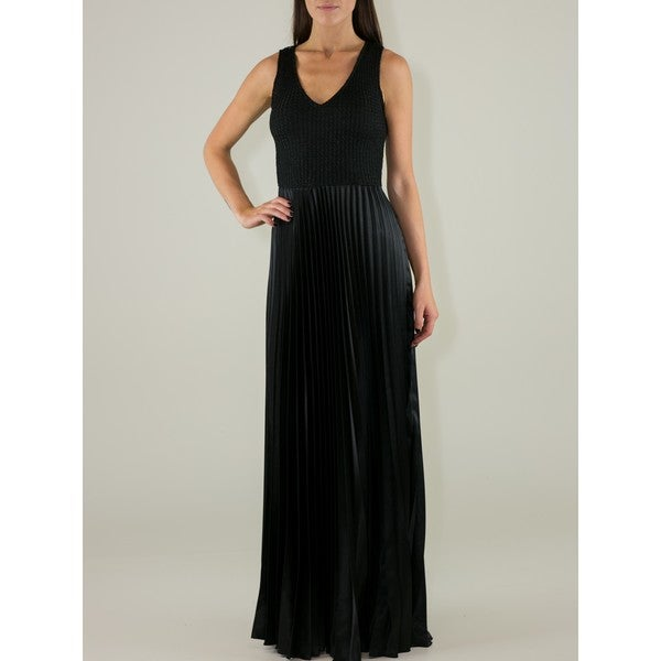 Black Polyester Sparkly Maxi Dress with Pleated Skirt