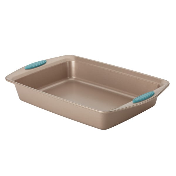 Rachael Ray Cucina Nonstick Bakeware 9-Inch by 13-Inch Rectangle Cake Pan, Latte Brown with Agave Blue Handles 21912477