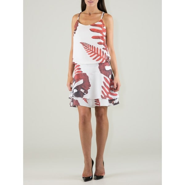 Women's Polyester Leaf-print Strappy Blouson Dress