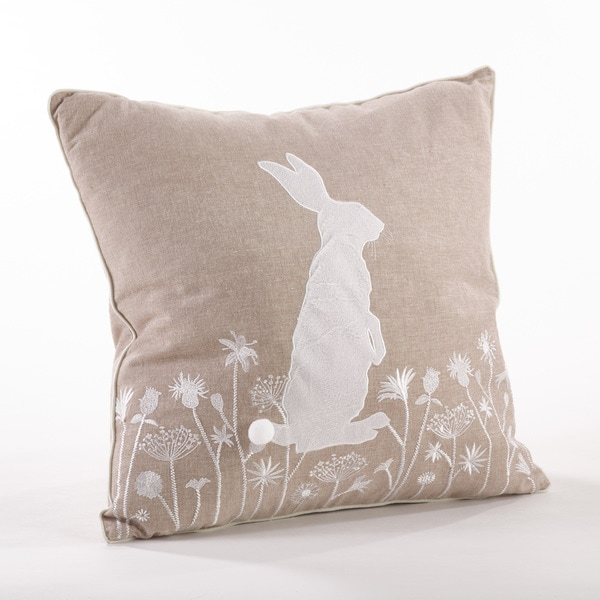 Embroidered Rabbit Throw Pillow