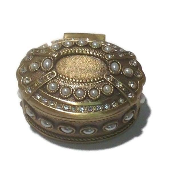 Elegance Vanity Oval Jewel Box- Antique Brass