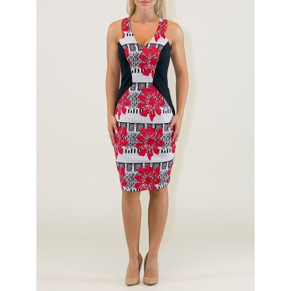 Women's Black-printed Sheath Dress