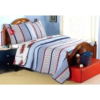 Cozy Line Benjamin Stripe Truck Print 3-piece Quilt Set