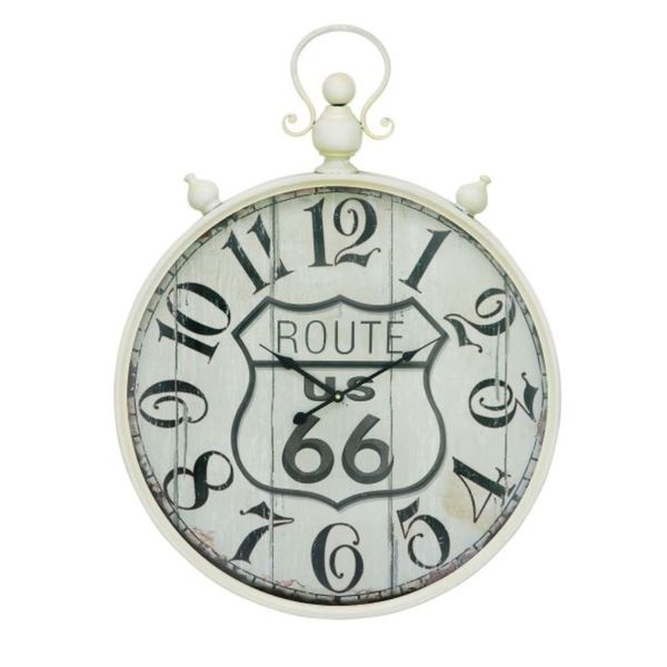 Benzara White Metal Route 66 Wall Clock