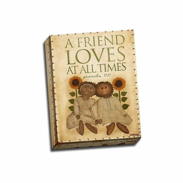 Picture It On Canvas 'A Friend Loves At All Times' Multicolored Wrapped Canvas Artwork