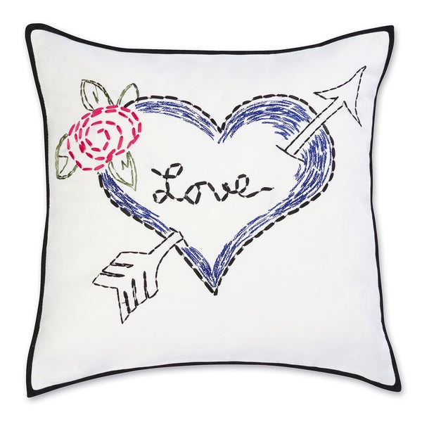 Betsey Johnson Regal Roses Embroidered Heart Pillow