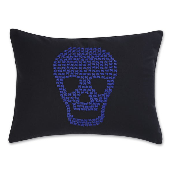Betsey Johnson Regal Roses Embroidered Skull Pillow