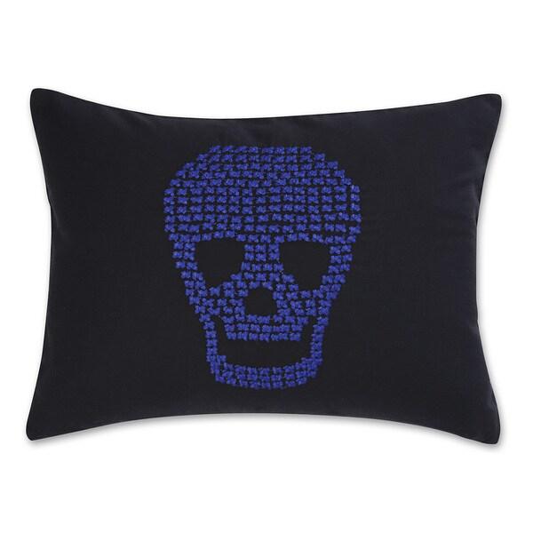 Betsey Johnson Regal Roses Embroidered Skull Pillow