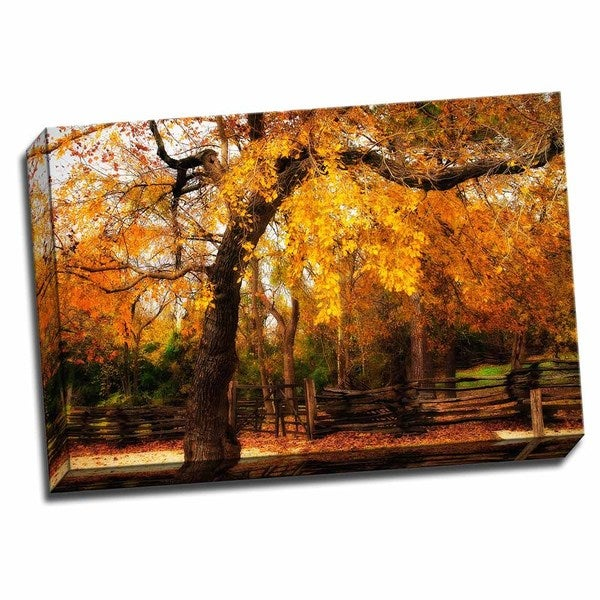 Picture It on Canvas 'Split Rail Fence IV' Multicolored Wrapped Canvas Artwork