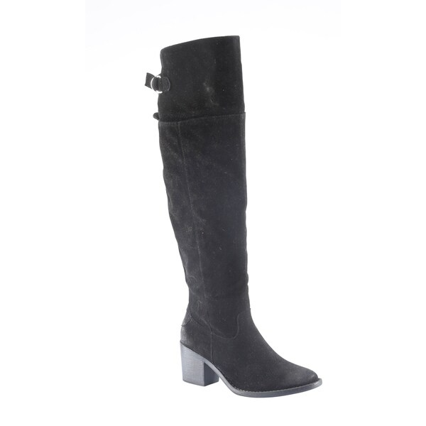 Hadari Women's Casual Faux Suede Knee High Heel Black Winter Boots