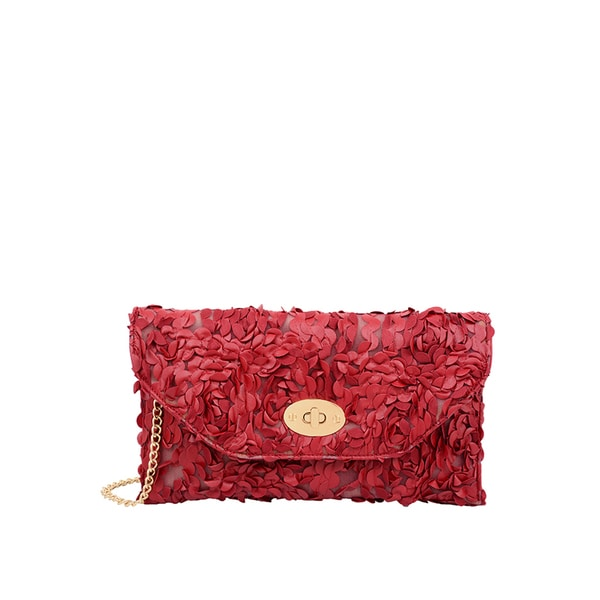 Mellow World Paisley Rose Petal Red Faux Leather Clutch