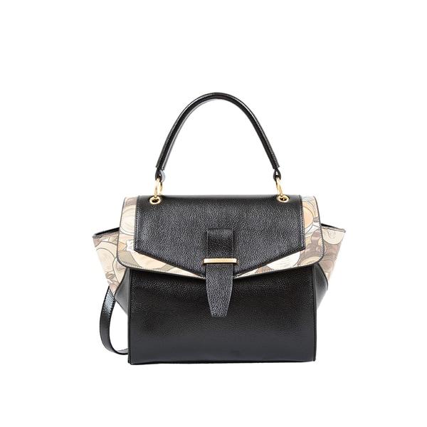 Mellow World Calypso Black Faux Leather/Faux Suede Convertible Satchel Handbag