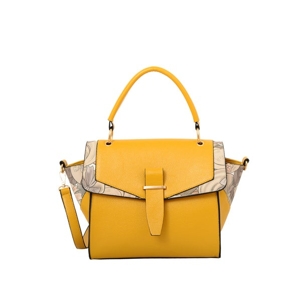 Mellow World 'Calypso' Mustard Yellow Faux Leather and Faux Suede Convertible Satchel
