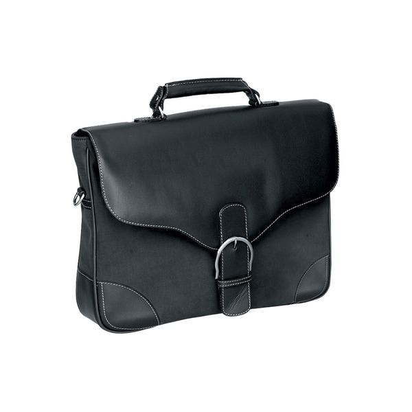Goodhope Bellino Diplomat Black Leather/Fabric Messenger Bag