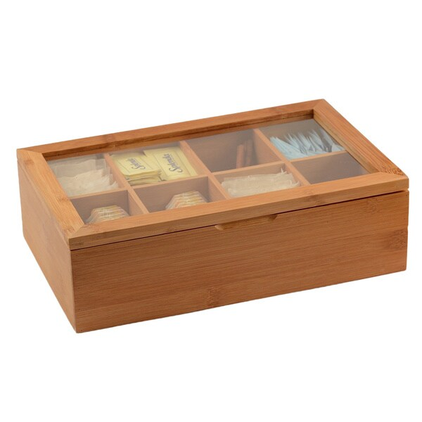 Belmint Bamboo 8-compartment Tea Storage Box With Clear Lid