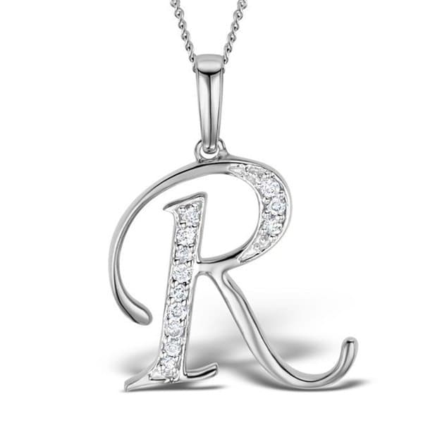 Trillion Designs 10k Gold Diamond Accent Initial 'R' Pendant Necklace (H-I, I1-I2)