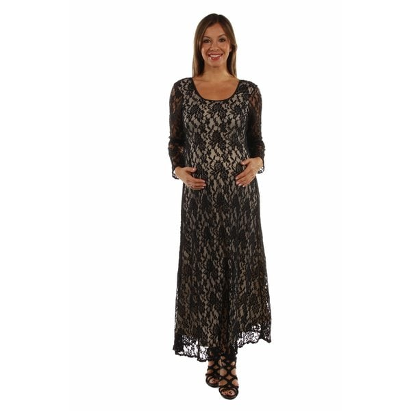 Lace CrissCross Maxi Maternity Dress