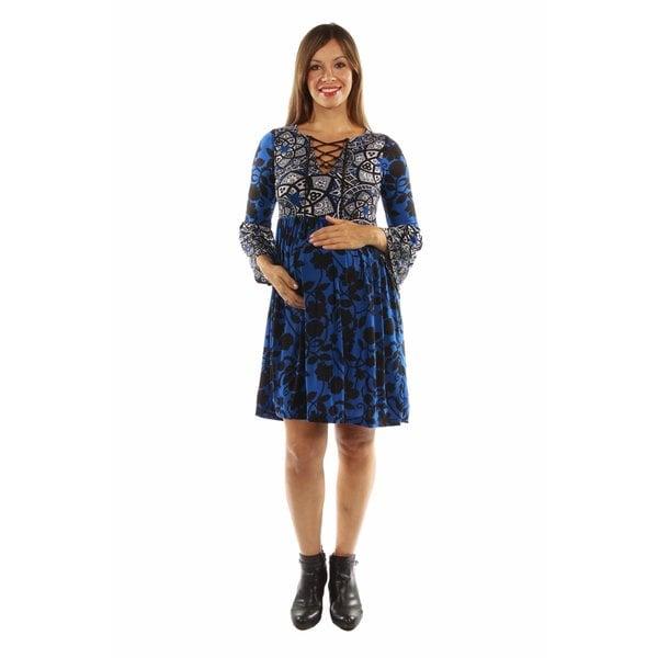 True Colors Lace Up Blue Maternity Midi Dress